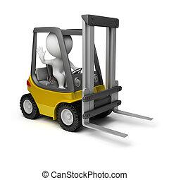 3D, pequeno, pessoas, -, Forklift