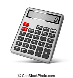calculator - Silver calculator 3d image Isolated white...