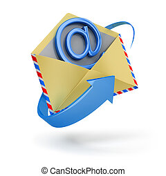internet message - The letter surrounded with an arrow with...
