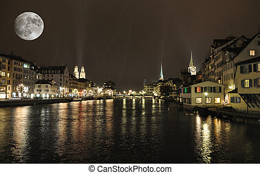 Zurich downtown by night