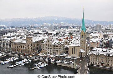 Winter view of Zurich