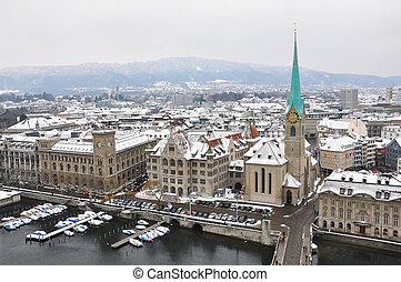 Winter view of Zurich