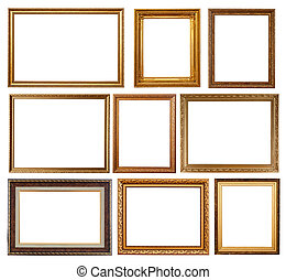 Set of 9 gold frames. Isolated over white background with...