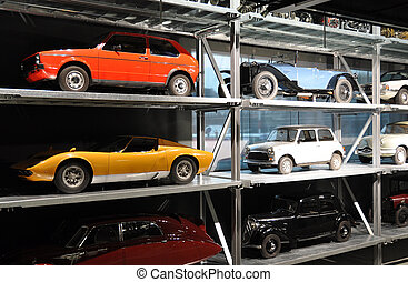 Old cars in the garage