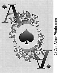 Ace of spades with the texture and ornament in the center