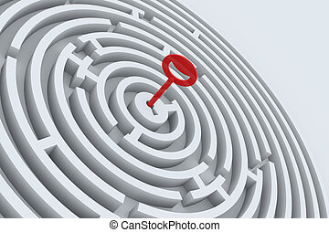 Key for maze in perspective. 3D render image.
