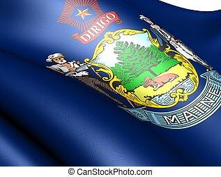 Flag of Maine, USA. Close up.