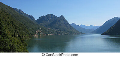 Lake Lugano. Border between Switzerland and Italy