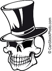Skull in hat - Skull in black hat for tattoo design
