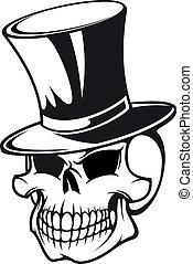 czaszka, kapelusz