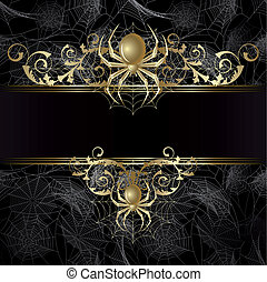 Frame with spider - Gold-framed with gold spider and web on...