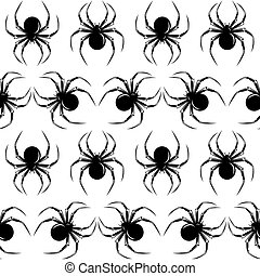 Halloween seamless with black spiders on the white...