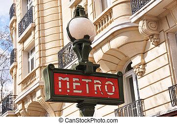 Retro subway (Metro) sign in Paris