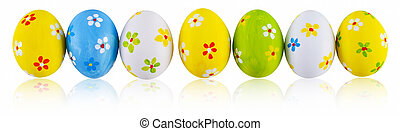 Hand painted easter eggs. - Hand painted green, white,...