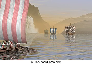 Viking Longships in a Fjord - Group of Viking Longships...