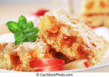 Apple cake - Slices of apple cake with crumb topping