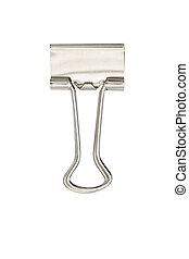 office paperclip or bulldog clip isolated on a white...