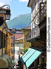 Narrow street of Bellagio at the famous Italian lake Como