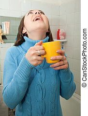 Illness girl gargling throat in her bath