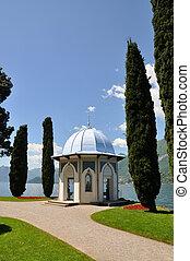 ciprés, alpes, ciudad, Italia, arquitectura, lago,...