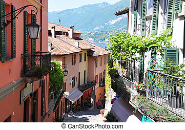 Narrow street of Bellagio town at the famous Italian lake...