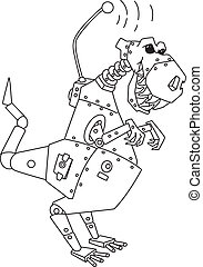 dinorobot outlined - illustration of a dinorobot outlined