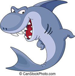 shark - illustration of a funny blue shark