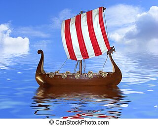 Viking ship - cut out Viking ship toy on a reflective water...