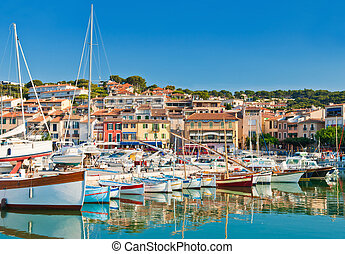 The seaside town of Cassis in the French Riviera - The...