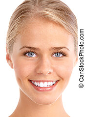 happy woman - Beautiful young smiling woman. Isolated over...