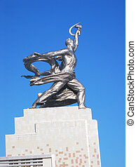 MOSCOW FEBRUARY 7: Famous Soviet monument of the Worker and...