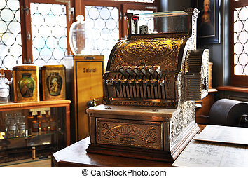 Vintage cash register in an old pharmacy