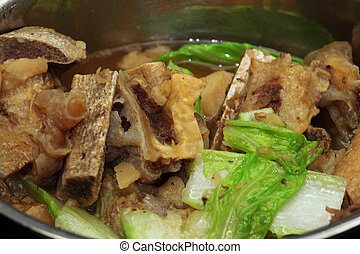 pork bone soup  - hot beef  bone soup with cabbage petchay