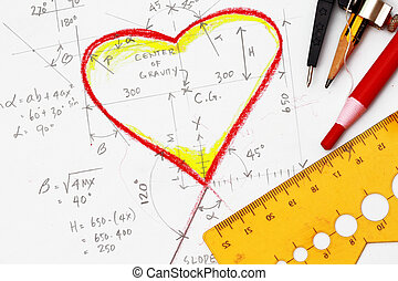 Hearts drawing with calculation and drawing tools
