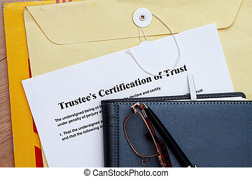 Trust certificate abstract- with diary and manila envelop