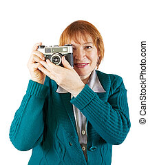 Senior photographer with analog camera - Senior female...