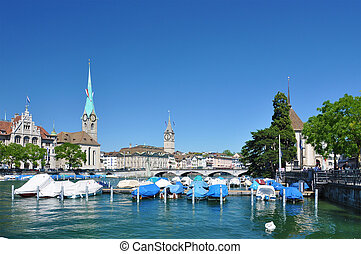 Zurich downtowrn across Limmat river