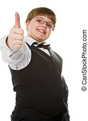 happy young businessman giving thumb up isolated on white