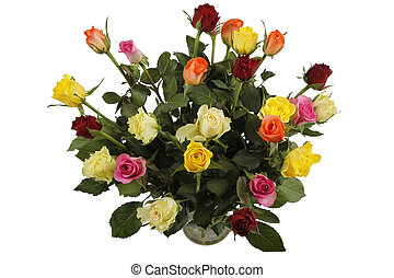 bouquet roses in vase - Multi colored bouquet of beautiful...