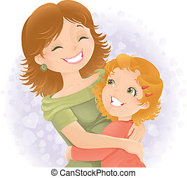Mothers day greeting illustration - Little girl hugging her...