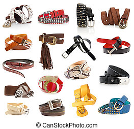 Leather belts isolated on the white