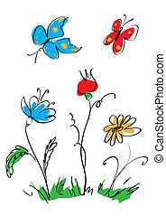 flowers and butterflies - childlike illustration of flowers...