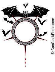 banner with bats - halloween illustration of the bats
