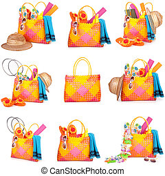 beach bag - collection of beach bags isolated on a white...