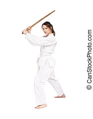 karate girl - full-length isolated portrait of beautiful...