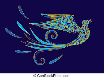 blue bird - vector illustration of the stylized blue bird