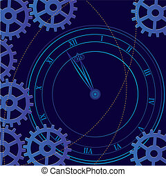 clock - vector illustration of the clock and gears