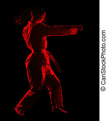 karate girl - full-length silhouette portrait of beautiful...