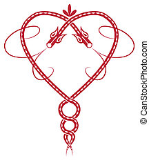 celtic heart - Valentine pattern with celtic dragon like...