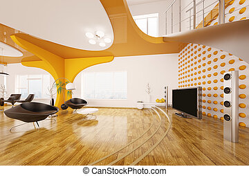 Modern interior design of living room 3d render - Modern...